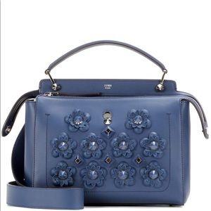FENDI blue leather floral appliqué bag NEVER WORN